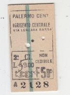 Biglietto Treno(Regno)-Sicily Italy Italia - Chemins De Fer