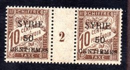 Syrie Taxe N°22 Paire Avec Milésime N** LUXE Cote 40 Euros !!!RARE - Syria (1919-1945)