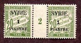 Syrie Taxe N°23 Paire Avec Milésime N* TB Cote 35 Euros !!!RARE - Syria (1919-1945)