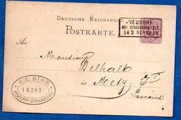 Entier Postal -  De Neudorf Bei Strasbourg -  Pour Metz  --  14/2/1881 - Ganzsachen