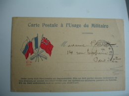 Sur Carte Edi A B Kz 3 Drapeaux Tresor Et Postes 38  Cachet Franchise Postale Militaire Guerre 14.18 - Postmark Collection (Covers)