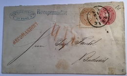 Österreich 1863 Ausgabe 5 Kr Ganzsache + 15 Kr + 10 Kr REKO PRAG RR ! > Budweis (Böhmen Tschechien Brief Austria Cover - 1850-1918 Imperium