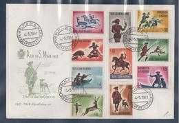 S. MARINO 1961 Caccia Antica (History Of Hunting) Mi. 686/95 - Sass. 555/64 Serie Cpl. 10v. Su Busta FDC - FDC