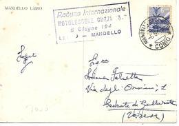 COR104 - ANNULLO TARGHETTA MANDELLO - MOTOCICLISMO - RADUNO INTERNAZIONALE MOTOLEGGERE GUZZI 6 - 05.06.1948 - Moto