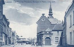119 Lessines Arsenal Des Pompiers Kiosque Et Place 1 Juin 1908 - Sapeurs-Pompiers