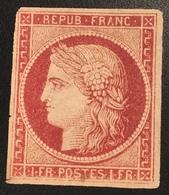 CERTIFICAT CALVES: France 1849 1f Cérès Carmin Neuf (*), RARE Seulement Petits Défauts, Non Réparé B-TB, Yvert 6 - 1849-1850 Cérès