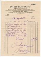 """Indochine - Facture """"Pham-Huu-Dung"""" Réparation De Malles En Tous Genres - HANOI 1928 - Factures & Documents Commerciaux"""