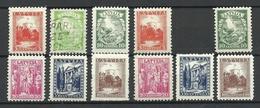 LETTLAND Latvia 1934 Lot Aus Michel 232 - 237 * (1 Stamp Is O) - Letland