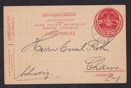 Turkey-Ottoman Empire: Stationery Postcard Galata To Switzerland, 1914, Rare Real Use (traces Of Use) - 1858-1921 Ottomaanse Rijk