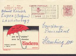 Belgium Postal Stationery Ganzsache Entier PRIVATE Print 'Cadera' Umbrella Paraplui Flamme 'Schach Echec' EUPEN 1960 - Entiers Postaux