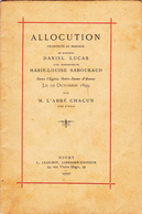 Auzay (Vendée) - Allocution Mariage Daniel Lucas Et Marie-Louise Sabouraud 1899 - Religión & Esoterismo