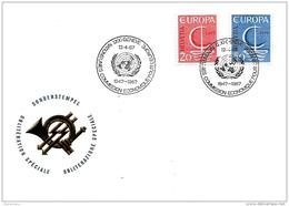 """166 - 27 - Enveloppe Avec Oblit Spéciale De Genève """"Commission Ecnomique Pour L'Europe"""" 1967 - Marcophilie"""