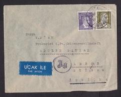 Turkey: Airmail Cover Galata To Switzerland, 1944, 3 Stamps, Censored, Rare Censor Cancel, Air Label (minor Crease) - Brieven En Documenten