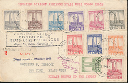 BELGIAN CONGO FIRST FLIGHT 1941 ISSUE ALBERT'S MEMORIAL SET BY REGISTERED ON STRATEGIC PANAM FLIGHT 1941 - Congo Belge