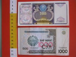 BN.01 BANCONOTA USATA VEDI FOTO - UZBEKISTAN 100 / 1994 + 1000 / 2001 - Uzbekistan