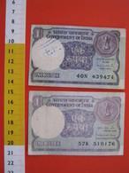 BN.01 BANCONOTA USATA VEDI FOTO - INDIA 1 RUPIA X 2 PEZZI - India
