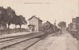 VEUXHAULLES - LE TRAIN ARRIVE EN GARE - BELLE CARTE - SEPIA - ANIMATION SUR LE QUAI - TOP !!! - Frankrijk