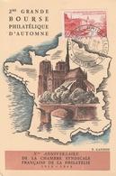 OBLIT. GF ILLUSTRÉE BOURSE PHILATÉLIQUE PARIS 10/48 S/ CARTE - Marcophilie (Lettres)