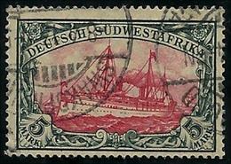 D S W-Afrika 1906, Yacht  5 Mark Mit Wasserzeichen,  Gestempelt, Sehr Sauber - Kolonie: Deutsch-Südwestafrika
