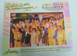 MALAYSIA 1998 16th Commonwealth Games Kuala Lumpur Gold Medal Winners Badminton Team Celebrating No Wmk SG MS715c Mnh - Malaysia (1964-...)