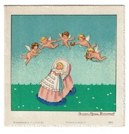 Enghien - Faire-Part De Baptême 1942 - Raymonde COLART - Illustré Par Anne Marie Bossaert - 2 Scans - Naissance & Baptême