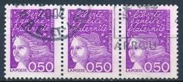 France - Marianne De Luquet 0,50 Violet (type II) YT 3088b Obl (bande De 3 Horizontale) - 1997-04 Marianne Of July 14th