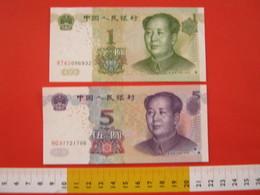 BN.01 BANCONOTA USATA VEDI FOTO - CINA 2 PEZZI MAO TZE TUNG 1893 - 1976 / 1 + 5 - Cina