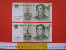 BN.01 BANCONOTA USATA VEDI FOTO - CINA 2 PEZZI MAO TZE TUNG 1893 - 1976 / 1 X 2 ESEMPLARI - Cina
