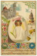 Voli La Bianca Colomba Nell'alba Primaverile Di Pasqua A Portarvi I Miei Auguri E Saluti 1908 - S Borgi Embossed/relief - Easter