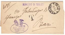 X5   Regno 1928 Franchigia Terlizzi X Bari Tassata + Annullo Frazionario (7-61) - 1900-44 Vittorio Emanuele III