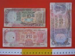BN.01 BANCONOTA USATA VEDI FOTO - INDIA 10 + 20 + 50 RUPIE - India