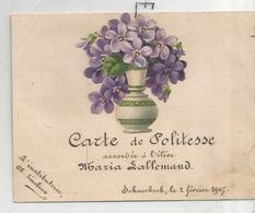 Carte De Politesse Accordée à Maria Lallemand à Schaerbeek En 1907 Par Cl. Linckens - Diplomi E Pagelle