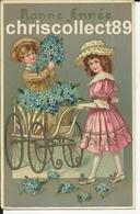 Carte Postale:  Enfants Poussette Et Myosotis  - Bonne  Année  - Glacée Et Reliefs - New Year