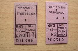 ITALIA TRIESTE AMG FTT 2 BIGLIETTI FERROVIARI LINEA MIRAMARE E GRIGNANO ZONA A VENEZIA GIULIA - Ferrovie