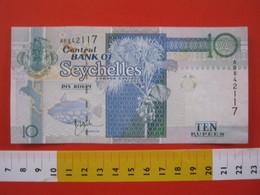 BN.01 BANCONOTA USATA VEDI FOTO - SEYCHELLES 10 RUPIE PESCE PALLA COCCO UCCELLI TARTARUGA DI MARE - Seychelles