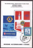 """X6  Italy 2013 Postcard And Special Postmark """"XII Congress Opening Of The District Lions 108 IA1"""" Novara - Rotary, Lions Club"""