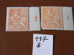 Mouchon No 117 Neuf * Millessime 1 Et 2 - 1900-02 Mouchon