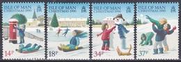 Insel Man Isle 1990 Religion Christentum Weihnachten Christmas Spiele Schlitten Sledge Schneemann Snow, Mi. 448-1 ** - Isla De Man