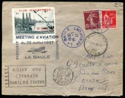 MEETING D'AVIATION LA BAULE 25/JUILLET/1937 - Vignette + C.S - TB - Airmail