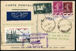 MEETING D'AVIATION LA BAULE 25/JUILLET/1937 - C.P Spéciale + Vignette Et C.S - TB - Airmail