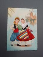 Enfants Carte Brodée à Identifier Signé Illustrateur - Embroidered