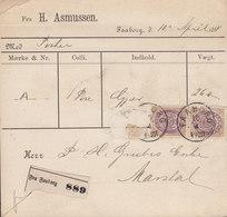Denmark Freight Bill Paket Karte H. ASMUSSEN, FAABORG (Fyn) Lapidar Cds. 1884 Card MARSTAL (Arr. Cds.) Straight Frame - Briefe U. Dokumente