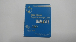 Nepal-NAMASTE-(prepiad Recharge Card)-(rs.200)-(2)-(1714576008010)-(31.12.2011)-used Card - Nepal