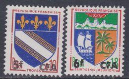 Réunion N° 346A / 46B X Partie De Série : Les 2 Valeurs Surchargées CFA,  Trace De Charnière Sinon TB - Réunion (1852-1975)