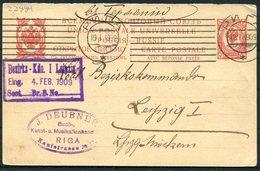 1909 Russia Latvia Stationery Reply Postcard Riga (Music Art Books) - Leipzig Bezirkskommando - 1857-1916 Empire
