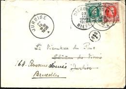 Belgique. TP 194 + 199 L. Bierghes-Bierk > Jurbise > Bruxelles  1926 - 1922-1927 Houyoux