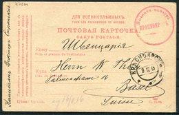 1915 Russia POW Censor Stationery Postcard - Basel Switzerland - 1857-1916 Empire