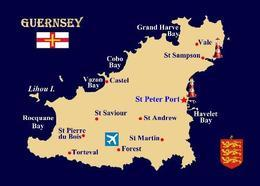 Guernsey Island Map Channel Islands New Postcard - Guernsey