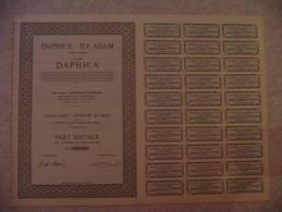 """Part Sociale """"Daphica"""" Ile Adam Lambermont Verviers(textile,filature ,peignage...)1968 - Textile"""