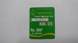 Nepal-NAMASTE-(prepiad Recharge Card)-(rs.200)-(10)-(03681570137988)-(31.8.2012)-used Card - Nepal